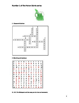St.Patrick's Day Worksheet including crossword and word search