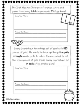 St.Patty's Day Multiplication and Division Story Problems- FREEBIE!