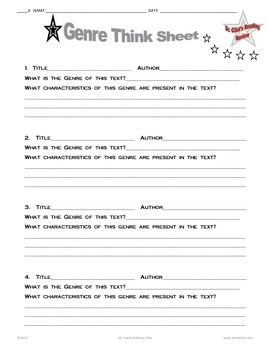 Staar and Common Core Reading Genre Think Sheet