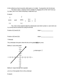 Staar review slope and y-intercept packet
