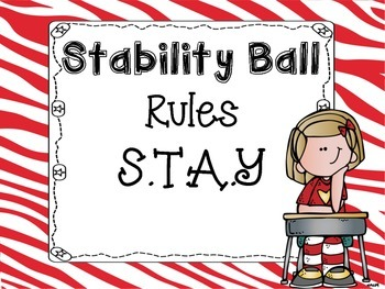 Stability Ball Rules Zebra Theme