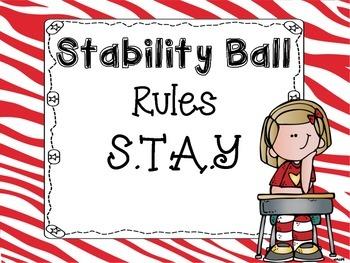 Stability Ball Rules Zebra Theme