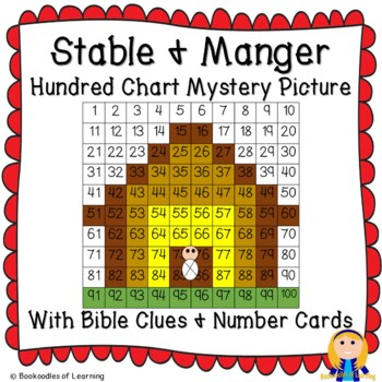 Stable & Manger Christmas Hundred Chart Mystery Pictures with Bible Clue