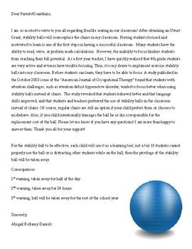 Stabliity Balls Editable Parent Letter and Permission Slip