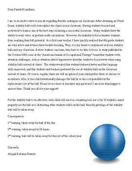 Stabliity Balls Editable Parent Letter and Permission Slip