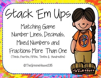 Stack 'Em Ups Matching Game Mixed Numbers and Fractions More Than One