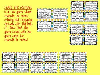 Stack The Decimals- A Game Reviewing Ordering and Comparing Decimals