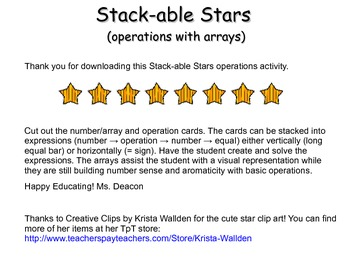 Stack-able Stars: Adding, Subtracting and Counting with arrays