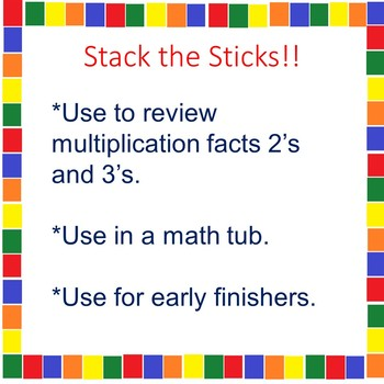 A Multiplication Math Tub Activity 2's and 3's