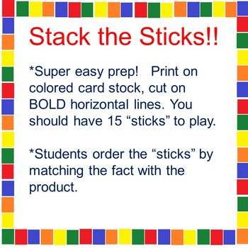Stack the Sticks! A Math Tub Activity 3's and 4's