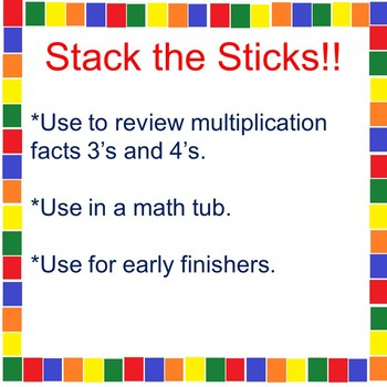 A Multiplication Math Tub Activity 3's and 4's