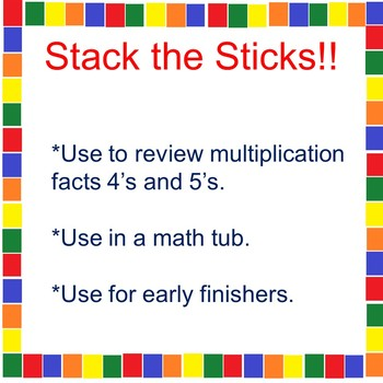 A Multiplication Math Tub Activity 4's and 5's
