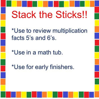 A Multiplication Math Tub Activity 5's and 6's