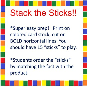 Stack the Sticks! A Math Tub Activity 6's and 7's