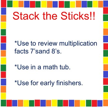 A Multiplication Math Tub Activity 7's and 8's