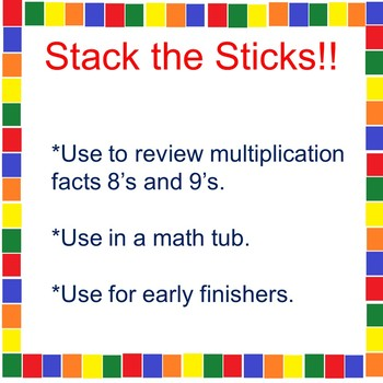 A Multiplication Math Tub Activity 8's and 9's