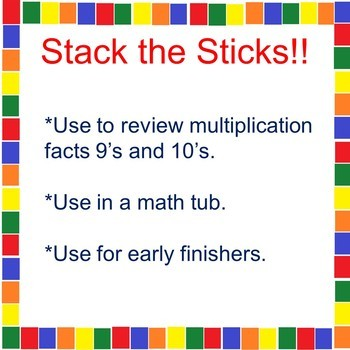 Stack the Sticks!! A Math Tub Activity 9's and 10's