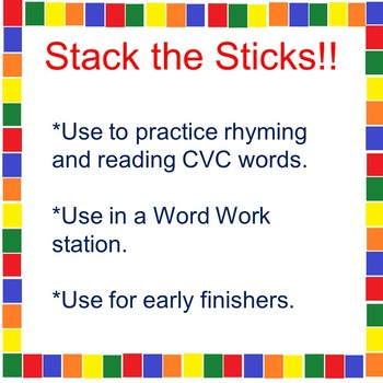 Stack the Sticks! CVC Rhyming Activity