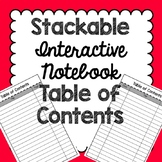 Stackable Interactive Notebook Table of Contents [[Works i