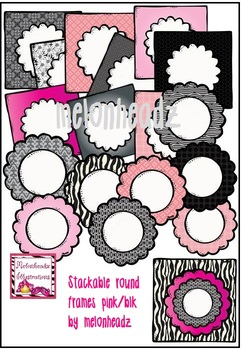 Stackable Round Frames Clip Art Pinkblack Melonheadz Clipart By