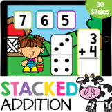 Stacked Adding to 10 with Dominos Farm Math Google Slides
