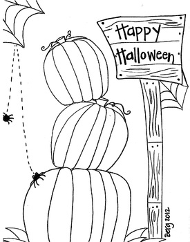 Stacked Pumpkins Coloring Sheet