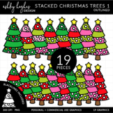 Stacked Stitched Christmas Trees 1 Clipart {A Hughes Design}