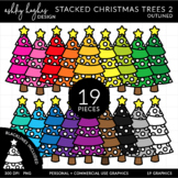 Stacked Stitched Christmas Trees 2 Clipart {A Hughes Design}