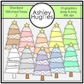 Stacked Stitched Christmas Trees 3 {Graphics for Commercial Use}