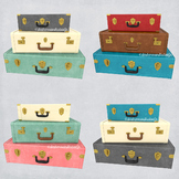 Stacked Suitcases Clip Art, Commercial Use, Retro Travel Luggage Graphics