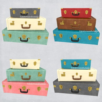 Stacked Suitcases Clip Art, Commercial Use, Retro Travel L