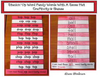 Stackin' Up 39 Word Family Words With a Seuss-Inspired Hat: Craft & Games