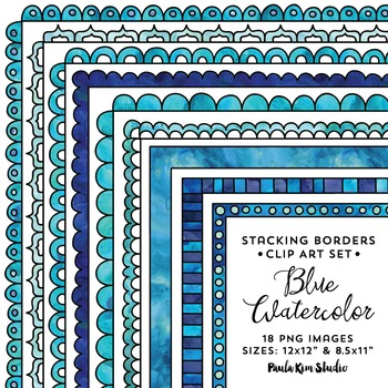 Stacking Borders - Blue Watercolor