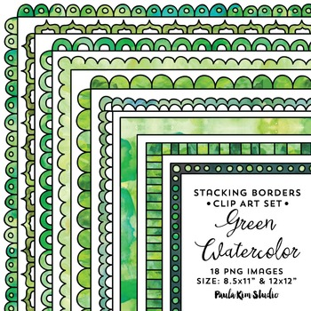 Stacking Borders - Green Watercolor