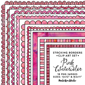 Stacking Borders - Pink Watercolor