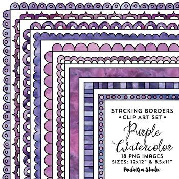 Stacking Borders - Purple Watercolor
