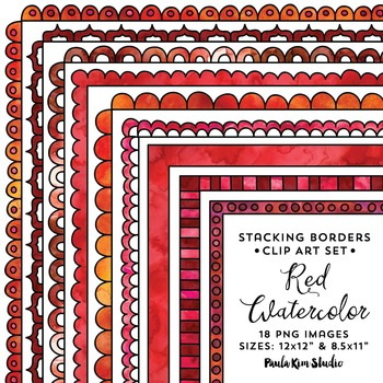 Stacking Borders - Red Watercolor