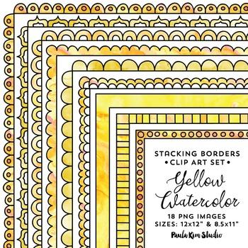 Stacking Borders - Yellow Watercolor