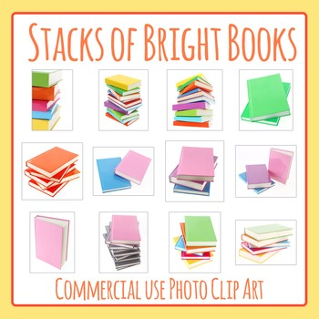 Stacks of Books Photo / Photograph Clip Art Set for Commer