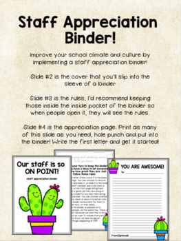 Staff Appreciation Binder! Social Committee & Climate Tool!