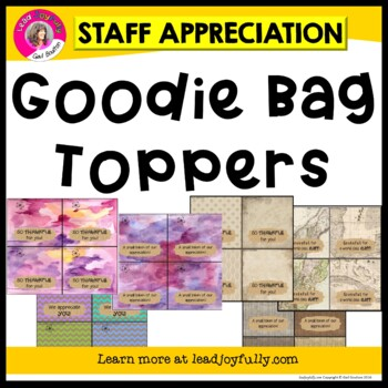 "Staff Appreciation Name Plates/""Goodie Bag"" Toppers (BURLAP)"