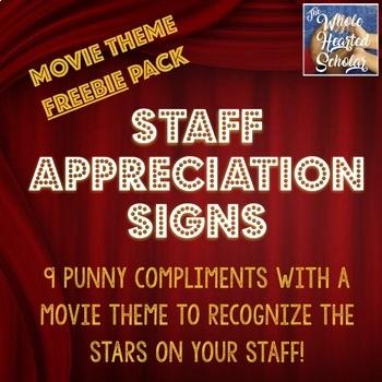 Staff Appreciation Signs - Movie Theme Freebie Pack