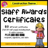 Staff and Teacher Awards (Construction Theme)