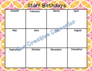 Birthday Sheet (for staff, students, or family!)