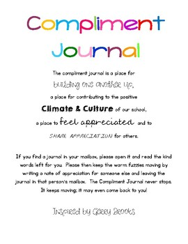 Staff Compliment Journal Cover Page, Inspired by Gerry Brooks