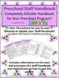 Staff Handbook for Preschool- Completely Editable