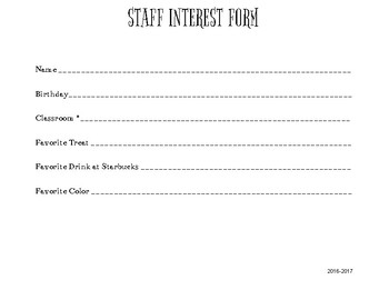 Staff Interest Form