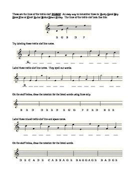 Staff Lesson 2 Music Theory Worksheet