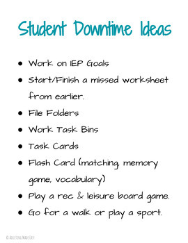 Staff Management FREEBIE Downtime Ideas Posters for Special Education Classroom