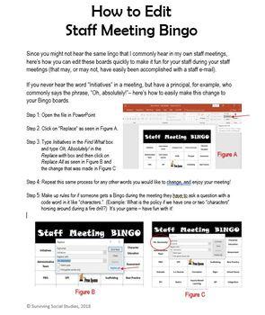 Staff Meeting Bingo - Editable - Super Fun!